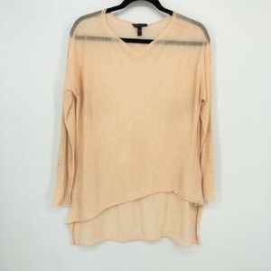 Eileen Fisher Peach Wool Blend L/S Hi-Low Pullover